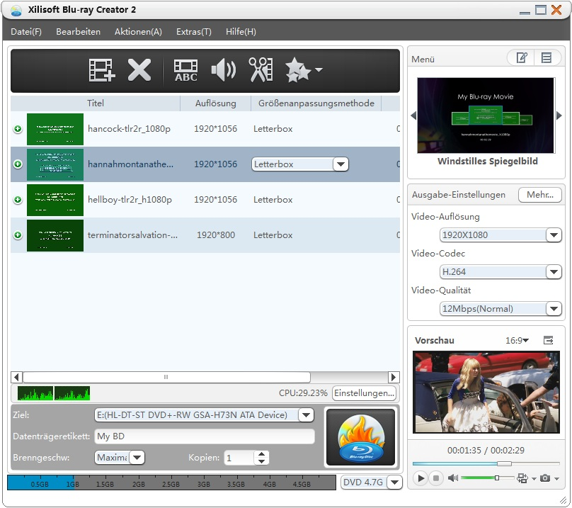 Screenshot vom Programm: Xilisoft Blu-ray Creator Express