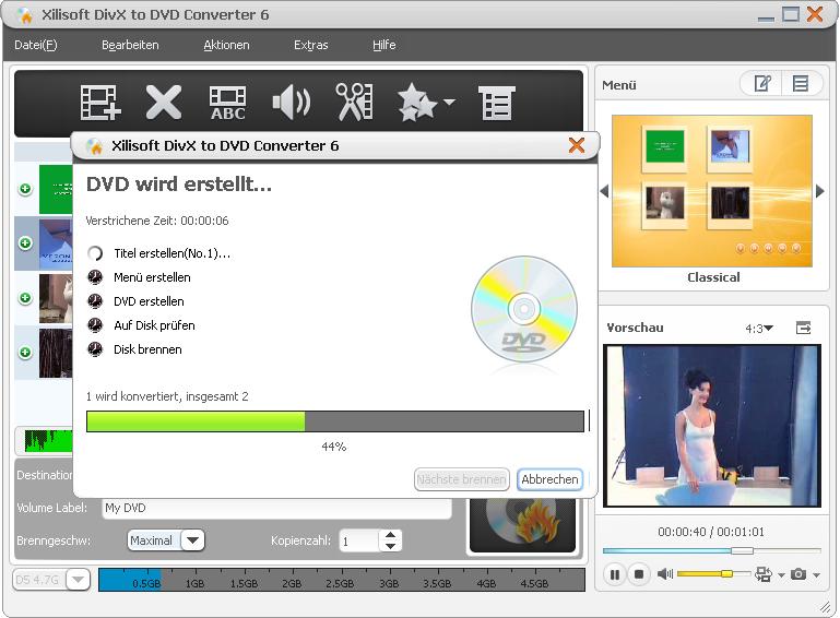 Screenshot vom Programm: Xilisoft DivX to DVD Converter 6