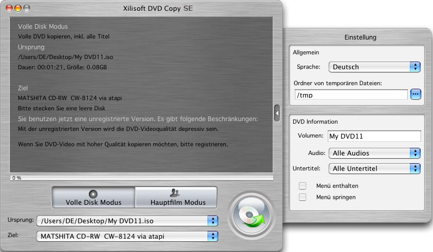 Screenshot vom Programm: Xilisoft DVD Copy for Mac