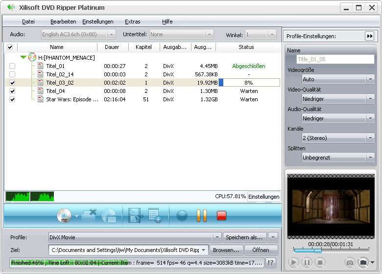 Screenshot vom Programm: Xilisoft DVD Ripper Platinum