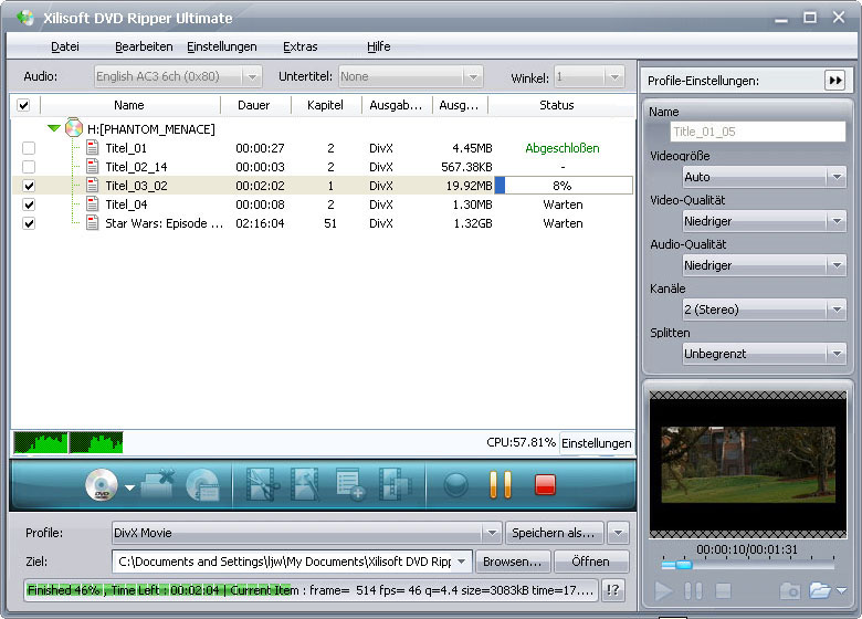 Screenshot vom Programm: Xilisoft DVD Ripper Ultimate