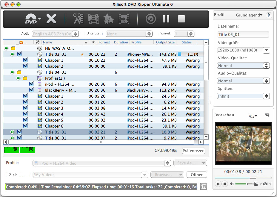 Screenshot vom Programm: Xilisoft DVD Ripper Ultimate for Mac