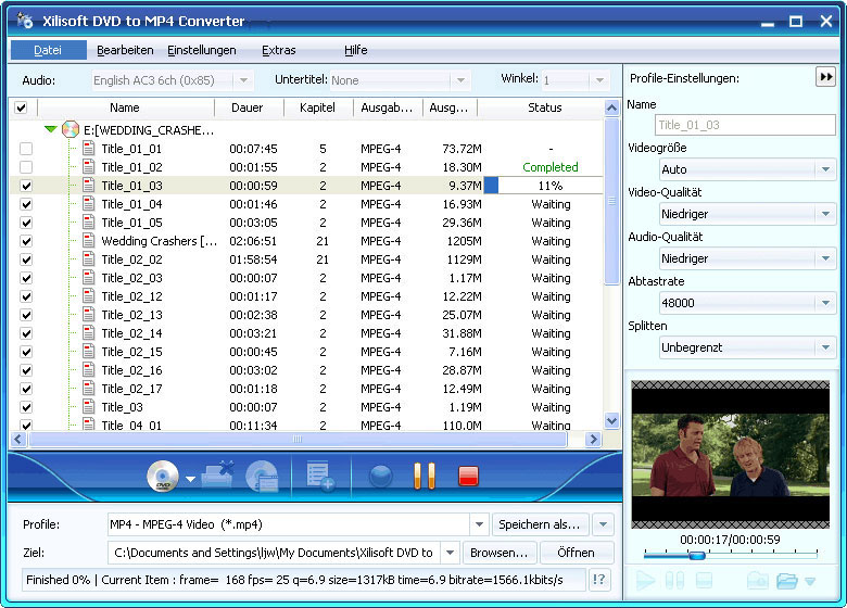 Screenshot vom Programm: Xilisoft DVD to MP4 Converter