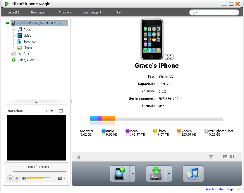 Screenshot vom Programm: Xilisoft iPhone Magic