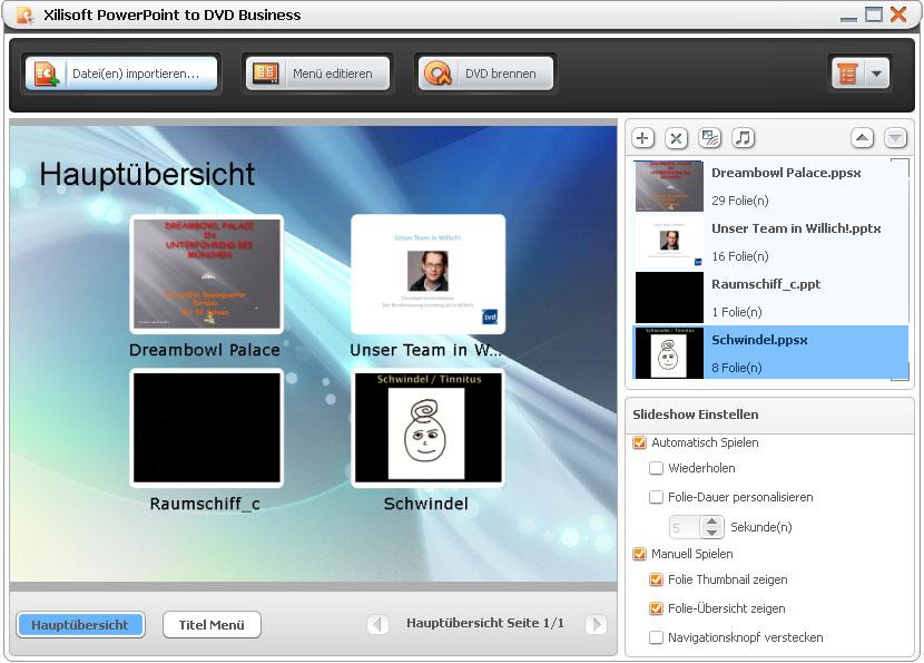 Screenshot vom Programm: Xilisoft PowerPoint to DVD Business