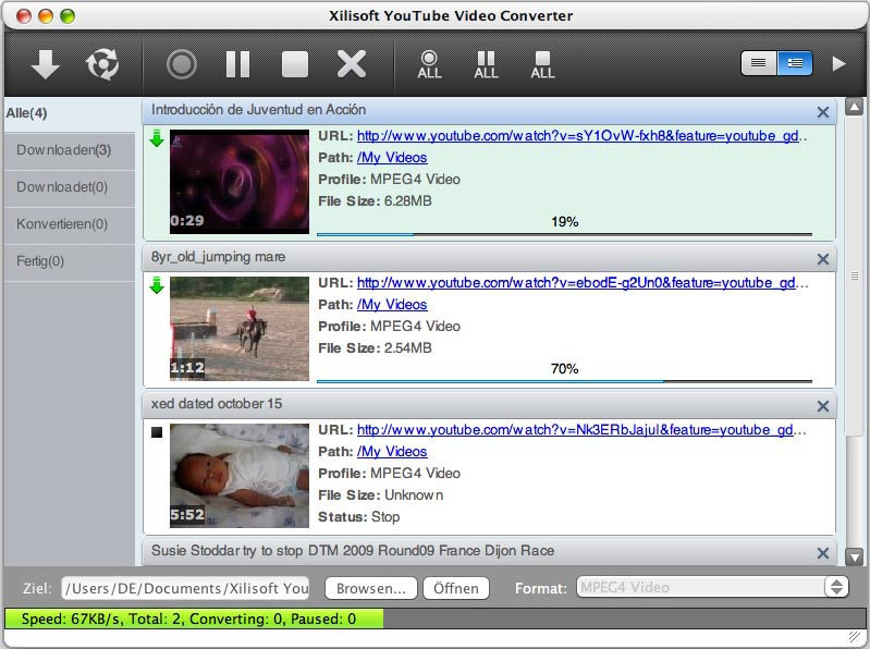 Screenshot vom Programm: Xilisoft YouTube Video Converter for Mac